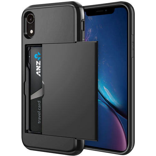 Tough Armour Card Holder Slide Case for Apple iPhone Xr - Black